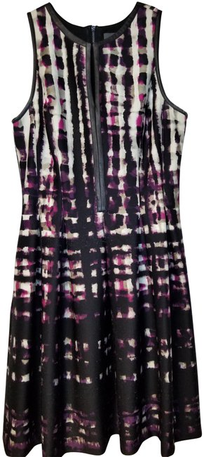 Item - Black/Multi Leather Piping Mid-length Work/Office Dress Size 8 (M)