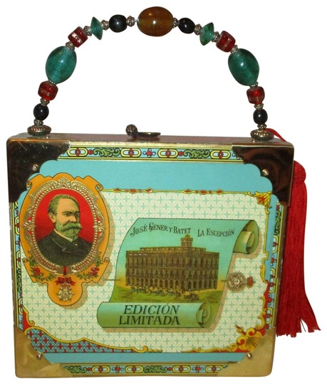 Cot In A Box Morocco Turquoise: Cigar Box Turquoise Multi Cardboard Satchel
