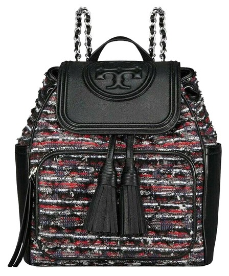 Preload https://img-static.tradesy.com/item/25050977/tory-burch-fleming-backpack-rare-black-leather-tweed-tote-0-1-540-540.jpg