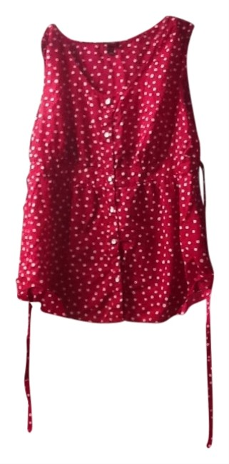 Merona Top happy fushia pink white polka dots