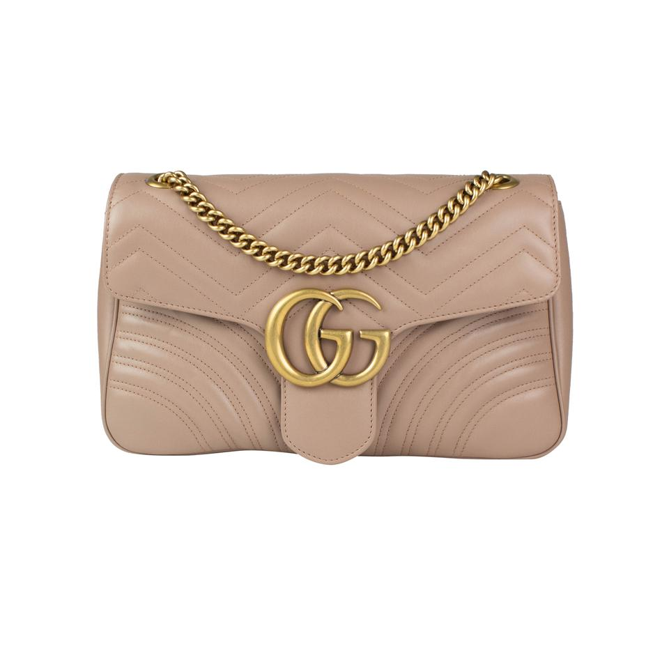b216a014c3ce Gucci Marmont Gg Medium Matelassé Beige Leather Shoulder Bag - Tradesy