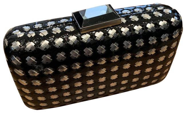 Item - Basketweave With Black and Silver Pleather Metal Chain Clutch