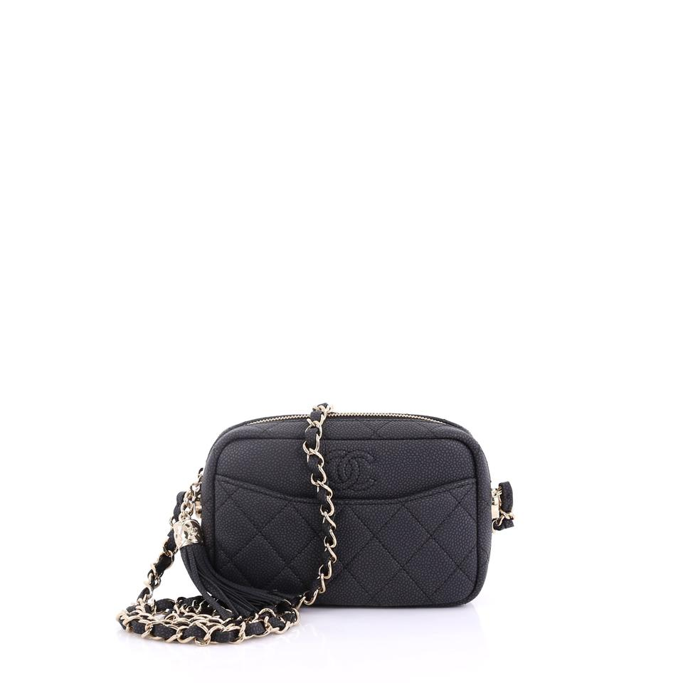 c234c74dcf3709 Chanel Camera Coco Tassel Case Quilted Caviar Small Black Leather ...