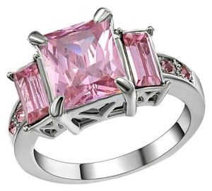 Handmade Pink Sapphire CZ Ring In White Rhodium Plated Size 7