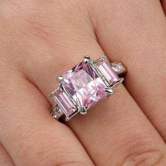 Handmade Pink Sapphire CZ Ring In White Rhodium Plated Size 7 Image 1
