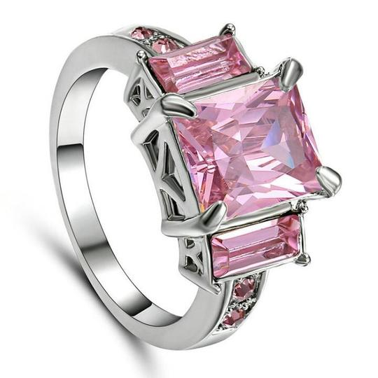 Handmade Pink Sapphire CZ Ring In White Rhodium Plated Size 7 Image 2