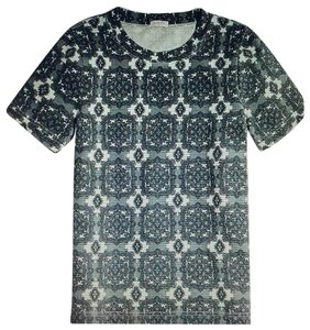 J. Crew Factory Medallion Damask Pullover T Shirt Grays and White