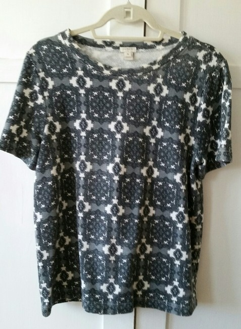J. Crew Factory Medallion Damask Pullover T Shirt Grays and White Image 1