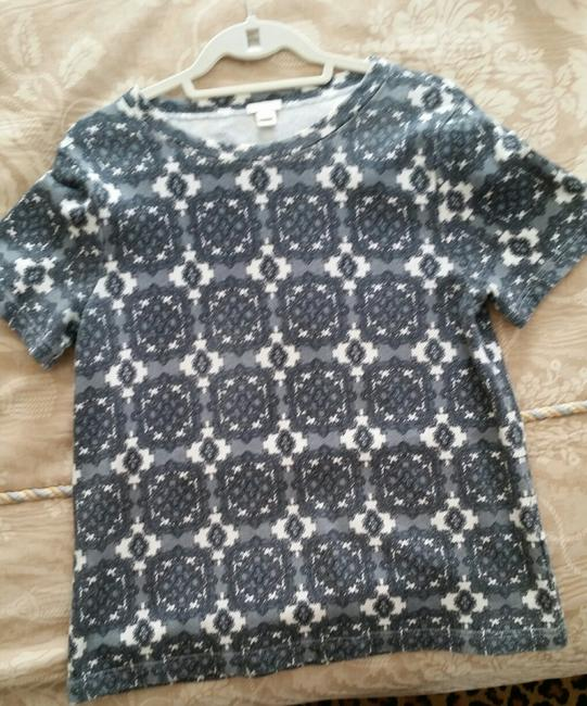 J. Crew Factory Medallion Damask Pullover T Shirt Grays and White Image 3