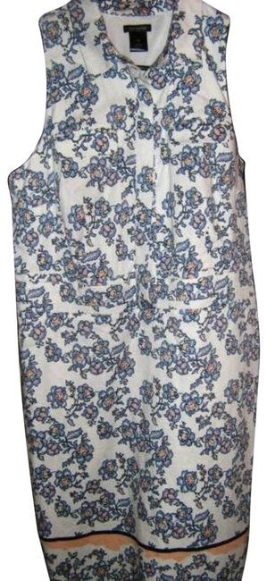 Item - Blue and Peach Flower Print Mid-length Work/Office Dress Size 10 (M)
