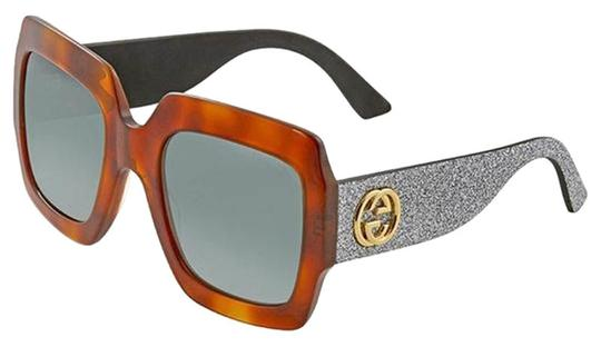 be043d4148e Gucci Silver Glitter Arms Havana Frame   Green Lens Women Oversized  Sunglasses