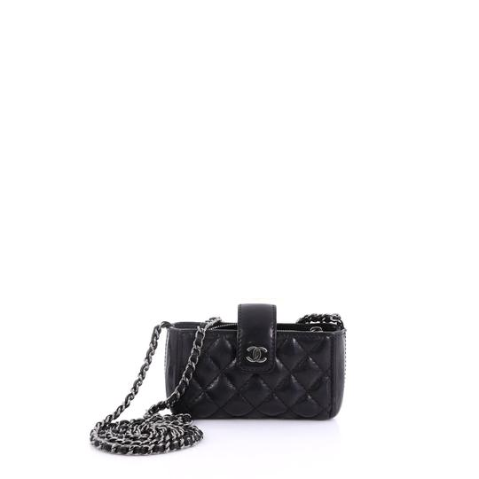 db2fb495af48 Chanel Chain Phone Holder Quilted Mini Black Lambskin Leather Cross Body Bag