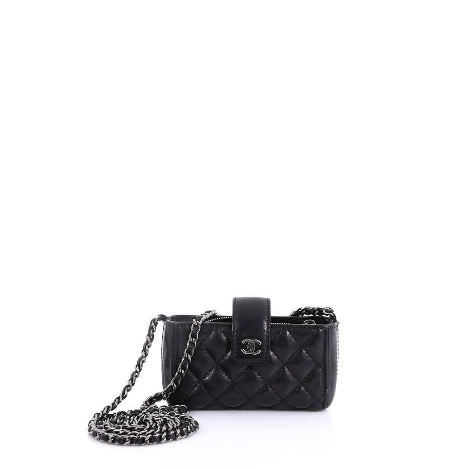 e45643781842 Chanel Chain Phone Holder Quilted Mini Black Lambskin Leather Cross ...