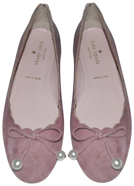 Item - Rose Suede Pearl Decor Round Toe Gold Flats Size US 5 Regular (M, B)
