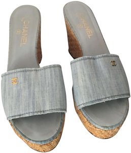 Chanel Sandals Wedge Denim Slides Platforms blue Mules