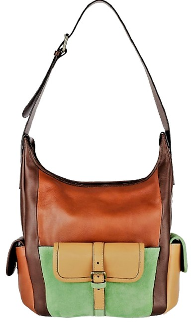 Item - Color-block and Suede Buckle Front Strap Brown / Tan / Green Leather Shoulder Bag