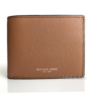Michael Kors Luggage Brown Saffiano Leather Slim Bifold Wallet Men's Jewelry/Accessory