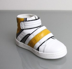 Gucci White/Gray/Yellow Kids Leather Coda Pop High-top Sneaker G 32/ Us 1 301353 9089 Shoes