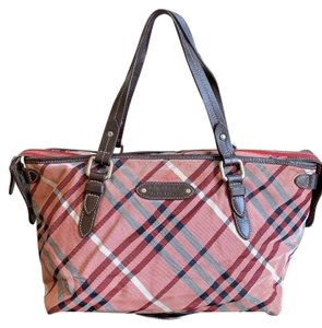Burberry London Blue Label Nova Check Tote in Red, Brown