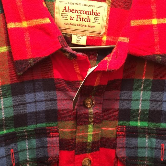 Item - Red Abercombie&fitch Multi Color Plaid Muscle Fit Flannel Xxl Shirt