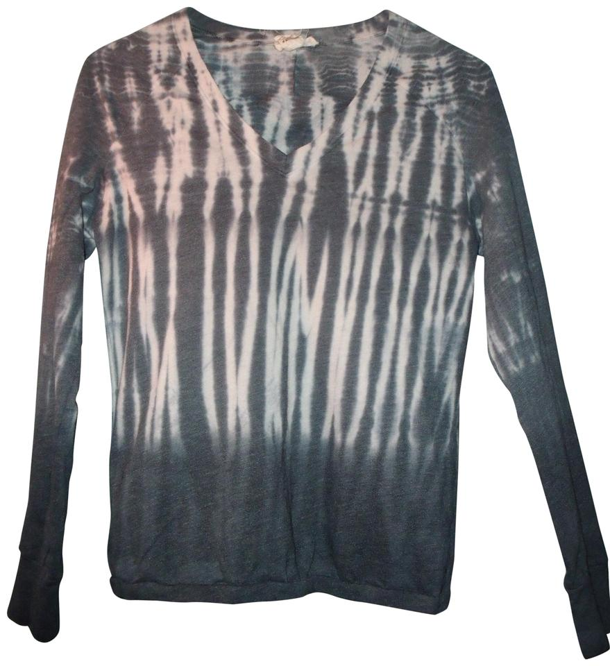 a707f3987afaa2 M. Rena Warm Tie Dye Fitted Long Sleeve V-neck Stretchy Shirt Gray ...