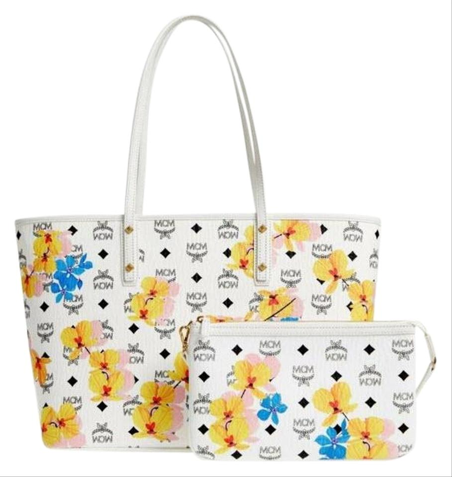 7f67c476c MCM Medium Anya Floral Print Zip Top with Pouch White Coated Canvas Tote