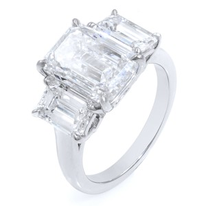 Gavriel's Jewelry Three Stone Emerald Cut Engagement Ring GIA Certified