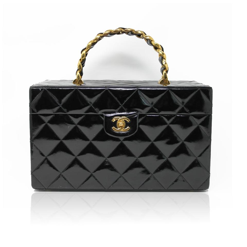 8bfbdc5576d6 Chanel Chanel Patent Black Gold Hardware Beauty Train Case Image 0 ...