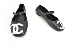 "Chanel Cc Logo Leather Mary Jane ""Cambon"" Black Flats"