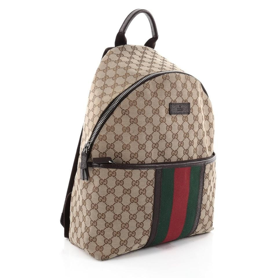 3f43f4a7d Gucci Web Gg Supreme Monogram Beige Canvas Backpack - Tradesy