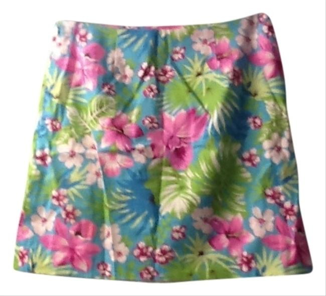 Tailor New York Casual Career Bright Happy Cute Easy Care Flowers Island Mini Skirt blues pinks greens white, HAPPY!!!!