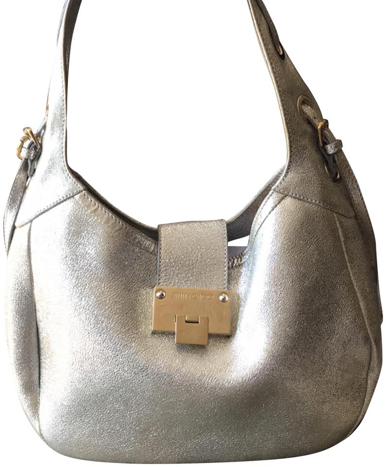 38c4c7f13c Jimmy Choo Sparkly Silver with Gold Accents Metallic Leather (Suede ...