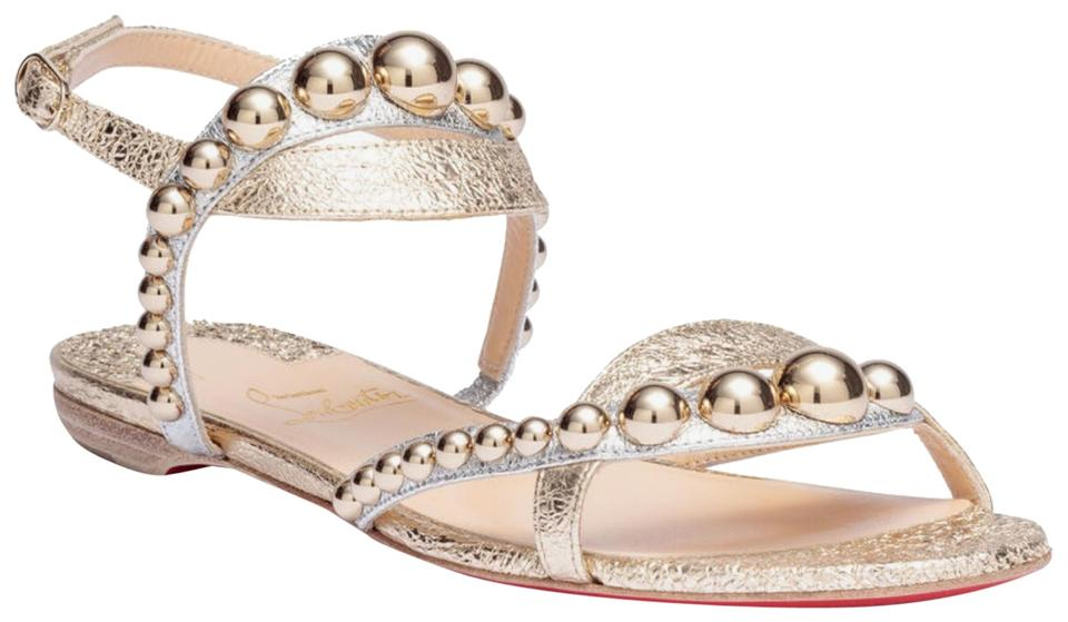 newest e08bc 39985 Christian Louboutin Gold/Silver Galeria Flat Specchio Vintage Sandals Size  US 6.5 Regular (M, B) 33% off retail