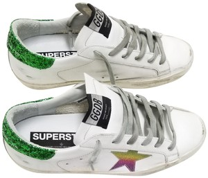 Golden Goose Deluxe Brand G34ws590.n81 White Leather-Green Rainbow Athletic