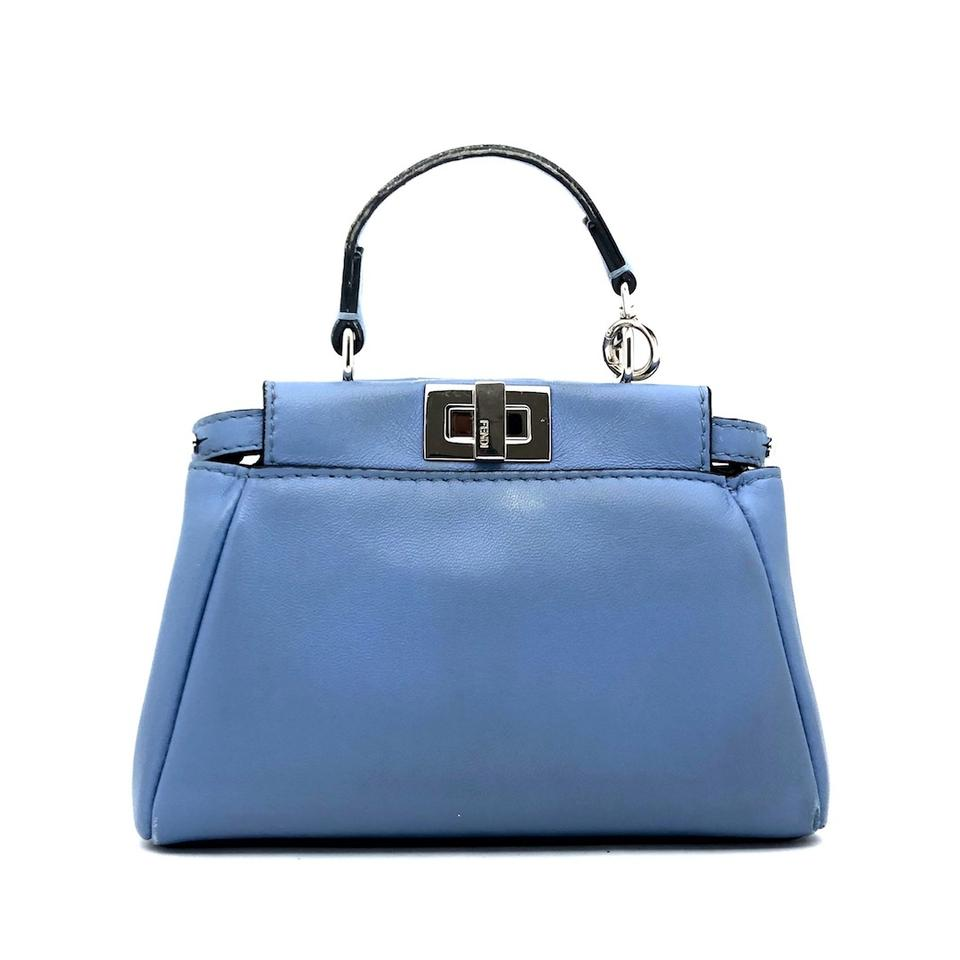 a326023d Fendi Micro Peekaboo with Strap Blue Leather Shoulder Bag 56% off retail