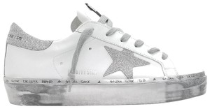 Golden Goose Deluxe Brand G34ws945.f3 White Leather-Sparkle Silver Athletic