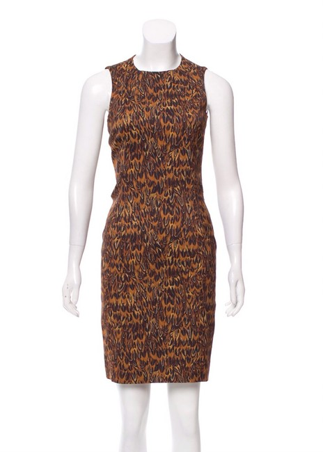 Michael Kors Brown Gold Purple Feather Print Short Cocktail Dress Size 2 (XS) Michael Kors Brown Gold Purple Feather Print Short Cocktail Dress Size 2 (XS) Image 1
