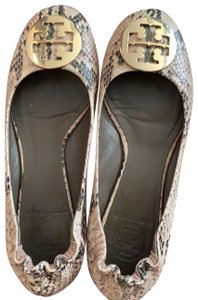 Tory Burch brown, tan, snake skin style Flats