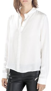 Zara Silk Button Down Shirt white