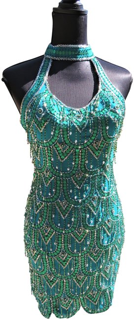 Item - Teal Designs & Silver Beaded Short Night Out Dress Size 6 (S)