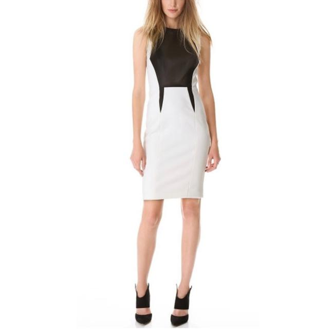 Item - White New Leather Trim Stretch Tech Short Night Out Dress Size 8 (M)