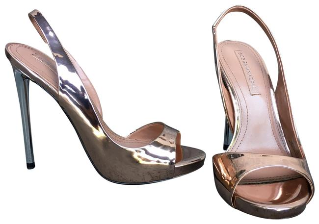 Item - Rose Gold Metallic Leather Prue Sling Back Peep Toe Pumps Size US 8.5 Regular (M, B)