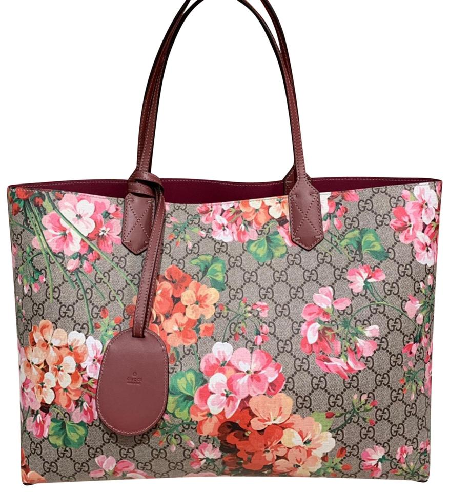 08582f18cb9 Gucci Bag Gg Blooms Medium Reversible Leather Pink Canvas Tote - Tradesy