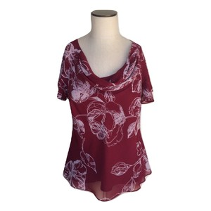 Jacques Vert Tiered Floral Flowy Short Sleeve Satin Top Burgundy