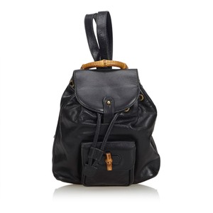 0453ae5a5b69 Gucci Bamboo Drawstring Black Leather Backpack - Tradesy