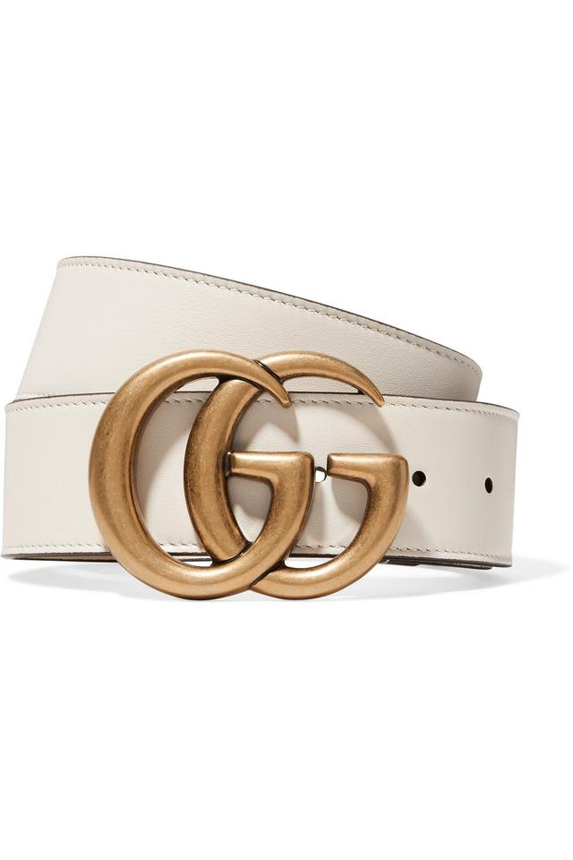 d9c66ef8f49 Gucci White GG Logo Leather Size 80 Wide 4cm Belt Image 0 ...