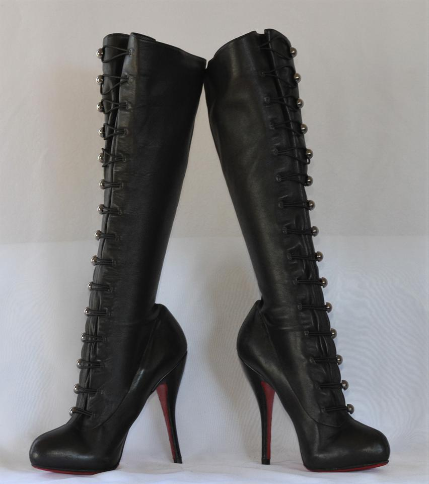 66eabd172ff Christian Louboutin Black Silver Buttons Alta Fifre Leather Corset Platform  Knee High Heel Lady Red Sole Italy Boots/Booties Size EU 40 (Approx. US ...