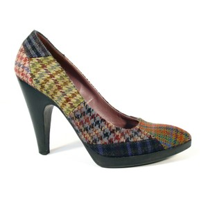 Miu Miu Patchwork Platforms Houndstooth Brown, Green, Black, Grey, Red, Tan, Blue Pumps