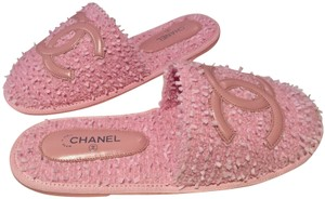 Chanel Sandals Slippers Tweed Slip Pink Mules
