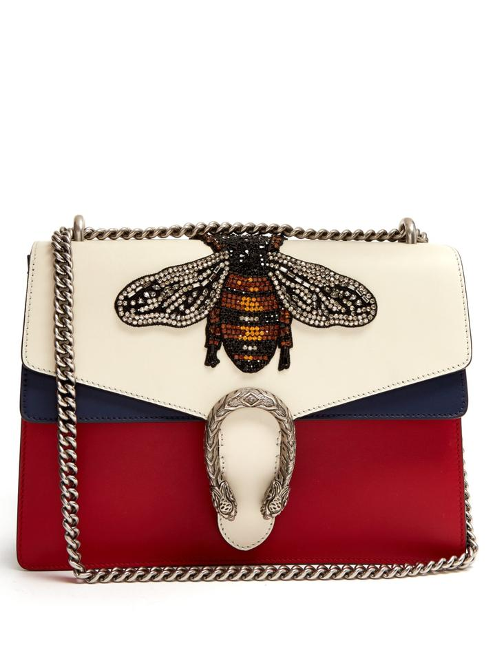 0ce286513 Gucci Dionysus Large Bee Appliqué Red Blue White Leather Shoulder Bag